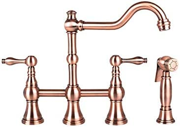 Two-Handles Copper Bridge Kitchen Faucet with Side Spray – 5 Years Warranty