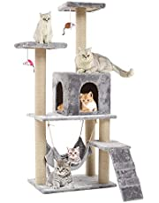Seemo Cat Tree Tower Cat Tree House Cat Tree Condo 4.1ft (125cm) Wood Rattan Pet Supplies with Versatile Safe Bed Easy to Assemgbly, Grey