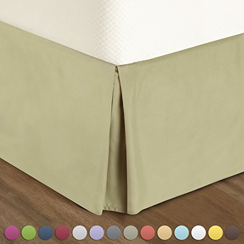 Nestl Bedding Pleated Bed-Skirt Queen Size  Green (Sage) Luxury Double Brushed 100% Microfiber Dust Ruffle, 14 inch Tailored Drop, Covers Bed Legs and Frame. By