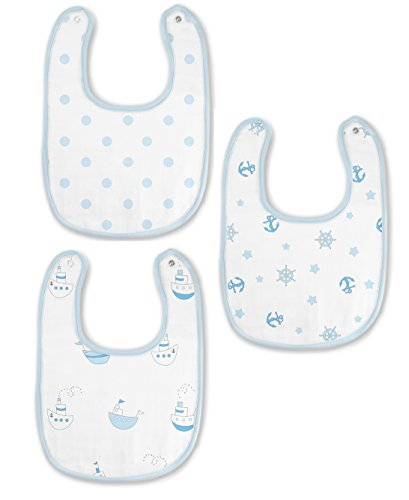 SwaddleDesigns Cotton Muslin Bibs, Set of 3, Pastel Blue Nau