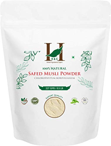 100% Natural Wild Cultivated Safed Musli Powder - Chlorphytum Borivillianum 227 gms / 1/2 LB Pound / 08 Oz - Processed in FDA registered facility (A 100% Natural Health Supplement)