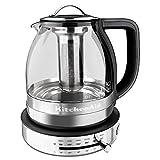 KitchenAid KEK1322SS 1.3L Electric Glass Tea Kettle, Stainless Steel