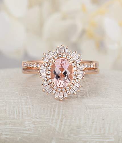 - Rose gold engagement ring set Pink Morganite vintage Unique Halo Baguette Diamond wedding women Flower Bridal set Promise Anniversary gift