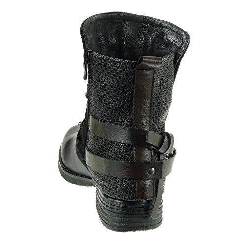 Angkorly - damen Schuhe Stiefeletten - Biker - Reitstiefel - Kavalier - bi-Material - Multi-Zaum - Nieten - besetzt - Geflochten Blockabsatz 3 CM Schwarz