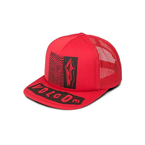 Volcom Junior's Stonar Waves Trucker Hat, rad red, One Size Fits All