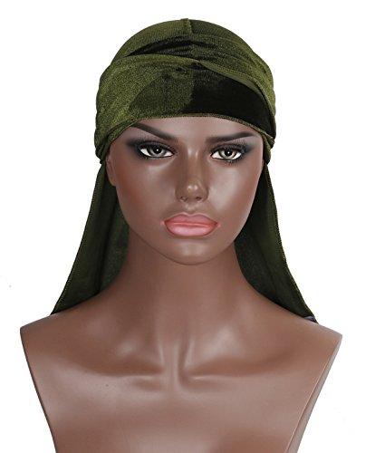 Velvet Durag Doo Du Rag – Green Khaki Olive Colored Mane Du-rag Cap Hat For Women Or Men XL XXL Long Thick Color 360 540 Designer Gay (Clothing : Womens Accessories Khaki)