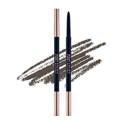 PONY EFFECT Sharping Brow Definer #Deep Brown 0.5g, 0.64 Ounces, Eyebrow Pencil, Ultra-slim Liner, Natural Brows Makeup, Dark Chocolate Brown Color