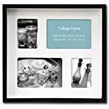 """Shadow Box Black Wooden 10"""" x 9"""" Collage Frame, Two 2.5"""" x 3.5"""" and Two 3.5"""" x 5"""" Windows"""