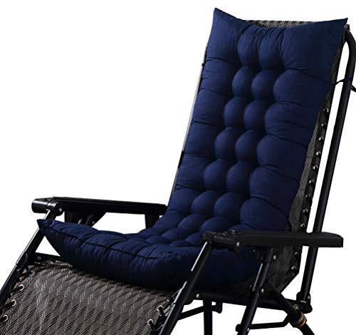 LamourBear Deck Rocking Chair Cushion with Ties 18 x 60 Inch Short Plush/PP Cotton Full Thick for Sofa Bench Dark Blue