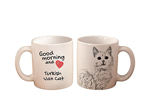 (Turkish Van Cat, mug with a cat, high quality, cup, ceramic, new collection)