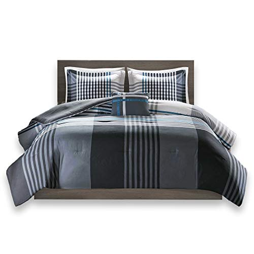 Comfort Spaces Full/Queen Comforter Set - Benjamin Lightweight, Ultra Soft, Contemporary Plaid Black/White Patchwork Comforter 4 Piece Microfiber Reverse Comfy Bedding Set - All Season by Comfort Spaces