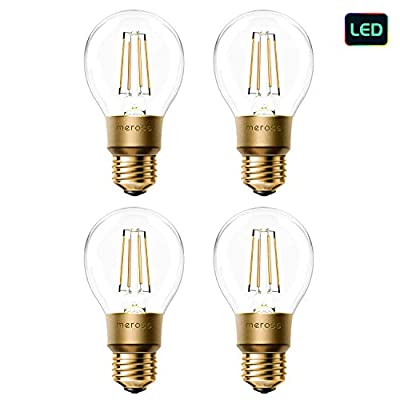 meross Smart LED Bulbs Dimmable, E26 Vintage Bulb Edison A19 Type, 60W Equivalent, Compatible with Alexa, Google Home and IFTTT, No Hub Required 4 Pack