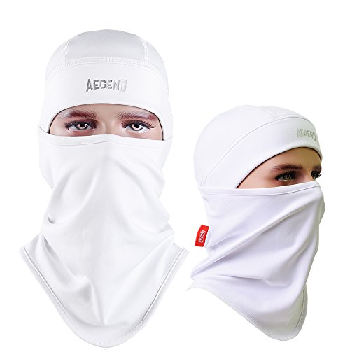 Balaclava Aegend Windproof Ski Face Mask Winter Motorcycle Neck Warmer Tactical Balaclava Hood Polyester Fleece for Women Men Youth Snowboard Cycling Hat Outdoors Helmet Liner Mask-White, 1 Piece