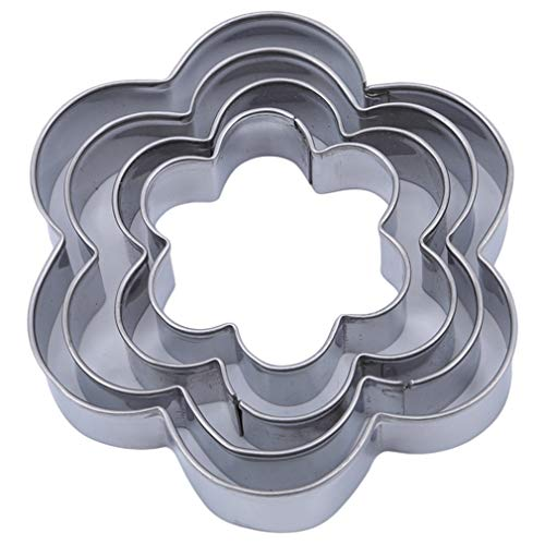 (Meoliny 5 Pcs Stainless Steel Cookie Cutter Set Mini Biscuit Cutter Set Heart Triangle Round Tiny Circle Baking Metal Molds,Flower Pattern)