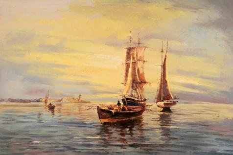 [Oil Painting 'Seascape Painting Of Boats On The Sea', 16 x 24 inch / 41 x 61 cm , on High Definition HD canvas prints is for Gifts And Bar, Game Room And Laundry Room Decoration,] (China National Costume Name)