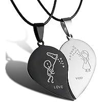 GirlZ! Multicolour Titanium steel split heart with leather chain Couple Pendant Necklace For Men & Women