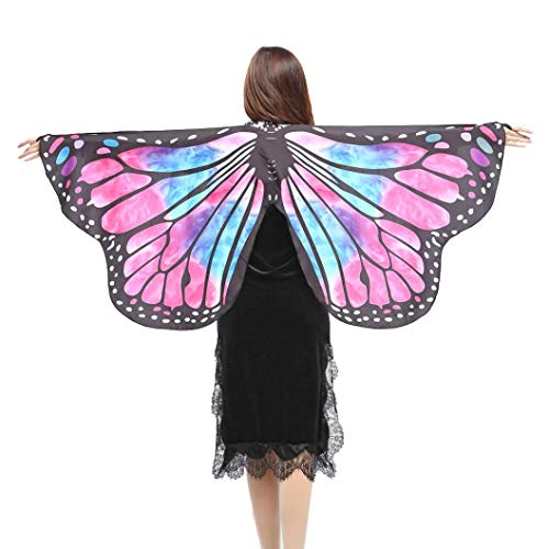 FEITONG Halloween Party Women Chiffon Soft Fabric Butterfly Wings Shawl Fairy Ladies Nymph Pixie Costume Accessory, 147x70cm(147x70cm,Hot Pink-3)