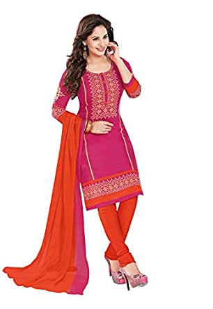 Ishin Women's Synthetic Dress Material (Ddrmtl-D-1502_Pink_Free Size)