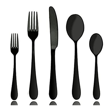 Aoosy Stainless Steel Matte Black Pated Flatware, 20-Piece Set, Service for 4