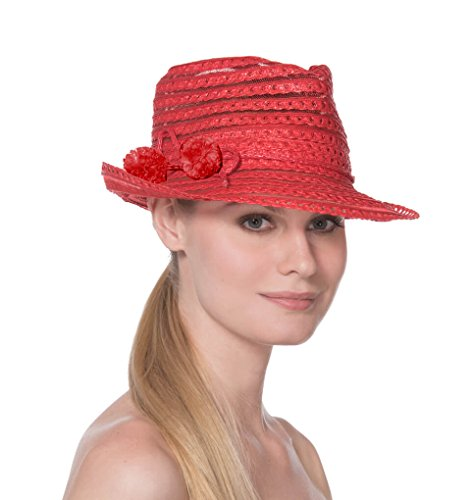 Eric Javits Luxury Fashion Designer Women's Headwear Hat - Rumba - Red by Eric Javits
