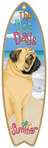 (SJT21758) Pug (Tan) dog surfboard plaque sign - measures 5