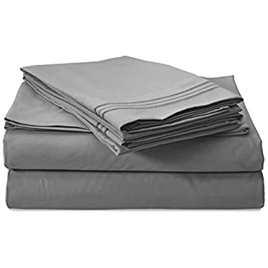 Clara Clark Premier 1800 Collection 4pc Bed Sheet Set - King Size, Charcoal Stone Gray,