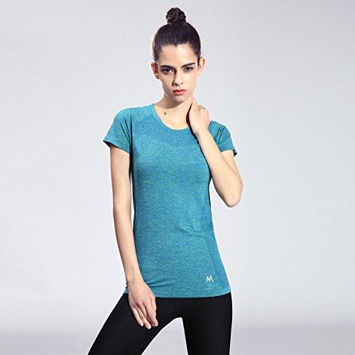 Erica T-shirt de sport pour femmes manches courtes col rond Running Fitness Exercice Tops séchage rapide