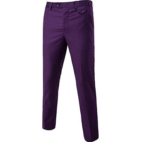Trois Veste Violet D'affaires Gilet Slim Pantalon Fit Pièces Costume Mariage 67ACwxwq