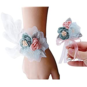 VEIDO Wrist Flower Corsage Rose Flowers Brooch for Wedding Party Prom Wristband Flower Set 2 Pack Corsage04 (Lace – Light Blue)