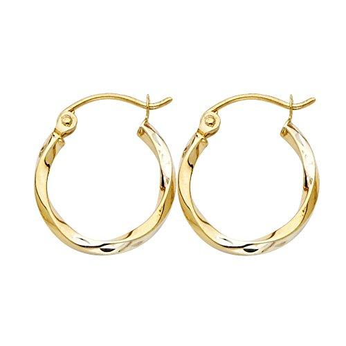 (14k Yellow Gold 1.5mm Thickness Fancy Twisted Hoop Earrings (15 x 15 mm))