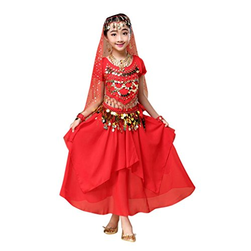 Malloom Kid Girls Belly Dance Short Sleeve Shirt Top, Dress Halloween Costume Set Outfits (M, Red)