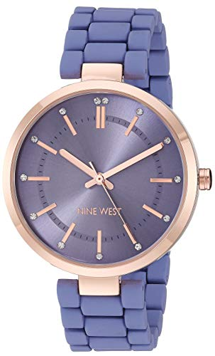Nine West Women's NW/2302RGPR Crystal Accented Rose Gold-Tone and Purple Rubberized Bracelet Watch