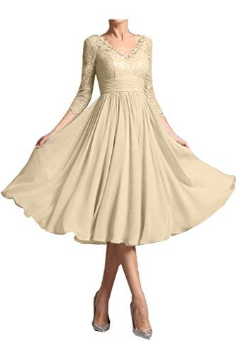 Sunvary Elegant Mother Of The Bride Dresses V Neck 3/4 Sleeve Lace Tea-Length Size 16- Champagne