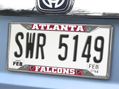 (FAN MATS 15041 NFL Atlanta Falcons Ez View Heavy Duty Chrome Metal License Plate Frame)