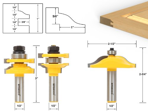 (Rail & Stile With Panel Bit Router Bit Set - Ogee - 1/2