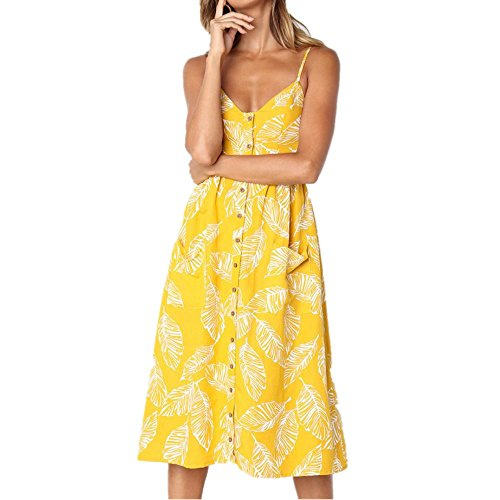 Goddessvan Women's Casual Plain Flowy Simple Lace Swing T-Shirt Loose Dress (M, Yellow -2)
