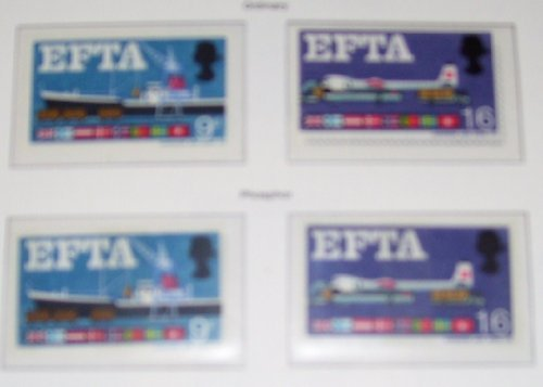 RADE ASSOCIATION(EFTA). SET OF 2 ORDINARY + 2 PHOSPHOR, UNMOUNTED MINT. (Unmounted Mint)