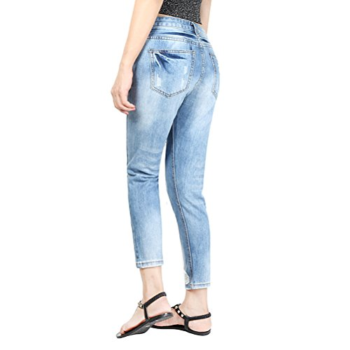 Zhuhaitf Fashionable Popular Ladies Juniors Denim Jeans Graffiti Cartoon Destroyed Jean Pants Blue