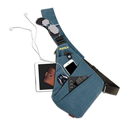 El Axila Underarm Bolsa Seguridad Ocio Pecho Mochila Rimix La para robo Ocultos Teléfono Para Derecha Derecha Mensajero Multiusos Hombro para Anti Dinero De Azul Deportes Portátil gris q8w0vU8