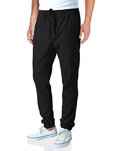 Match Men's Linen Jogger Pants (32, 6029 Black)