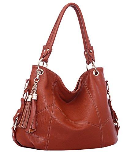 - Womens Purse Handbag Shoulder Bags Tote Bags Hobo Leather Tassel,Maroon