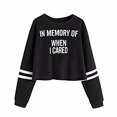 IN MEMORY WHEN I CARED Top ,Women Letters Printed Long Sleeve Sweatshirt Pullover Tops Blouse