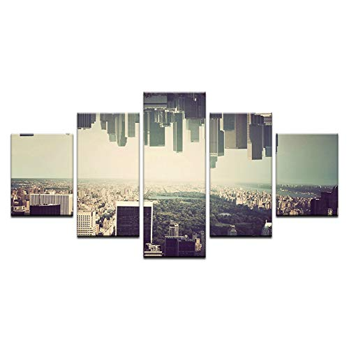 40x60 40x80 40x100cm No Frame 5 Pieces Canvas Art Ingreened Building Busy City Evening Poster Canvas Painting Wall Pictures for Living Room Home Decor Abstract