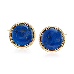 Ross-Simons Round Lapis Rope-Edged Earrings in 14kt Yellow Gold