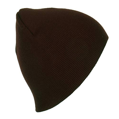 RufnTop Short Plain Knit Beanie Slouchy Cuff Toboggan Daily Hat Soft Unisex Solid Skull Cap(Brown One Size)