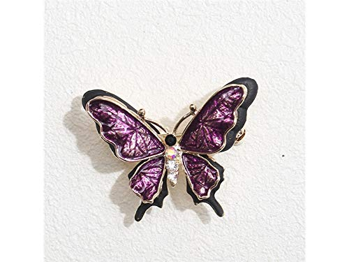 Decoartion Vintage Butterfly Brooch Wedding Corsage for Women's Gifts(Black+Purple) for Shawl