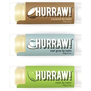 Hurraw Coconut, Earl Grey, Mint Lip Balms, 3 Pack Bundle