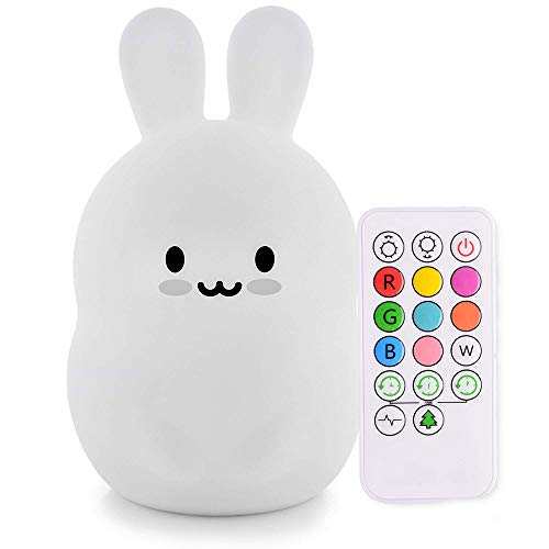 Cute Nursery Night Light for Kids, iWheat Soft Silicone Remote Control Night Light with Timer, LED Multicolor Night Light Portable USB Rechargeable Christmas Gifts for Baby -