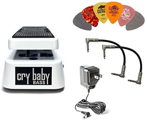 Dunlop 105Q Cry Baby Bass Wah Bundle w/ 2 Patch Cables, ECB-003 9V Adapter, and 6 Assorted Dunlop Picks