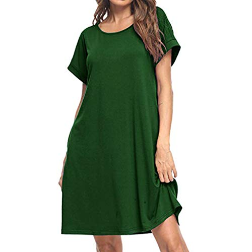 (Tantisy ♣↭♣ Women's V-Neck and O-Neck Cotton Casual Dress Short Sleeve Basic Plain Summer Ladies Dresses)